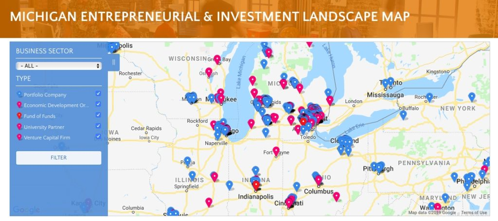 Find VC Funding With the Michigan Entrepreneurial & Investment Landscape Map