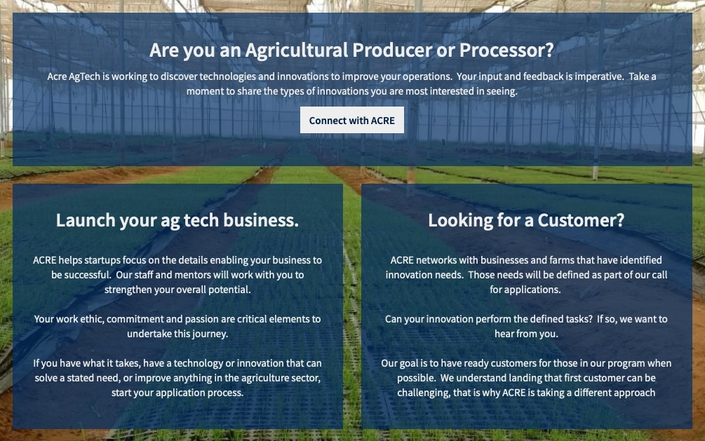Acreagtech accelerator, startup accelerator Michigan, west Michigan startups, agriculture businesses Michigan, Doug Huesdash, Global Accelerator Network