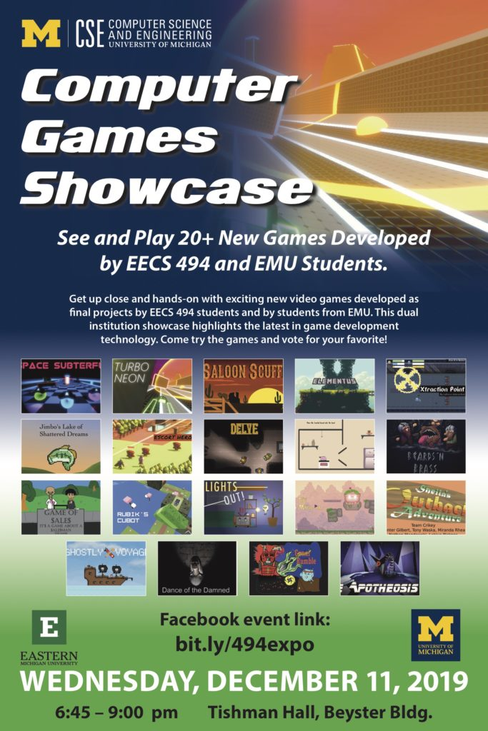 Austin Yarger, video game development, University of Michigan game development, Eastern Michigan game development, EECS 494, video game showcase
