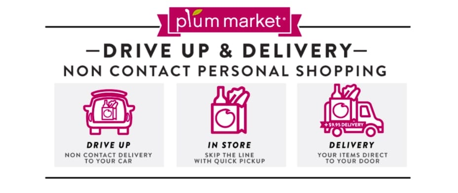 contactless grocery delivery, Plum Market, health food store contactless, grocery curbside pickup, contactless delivery services