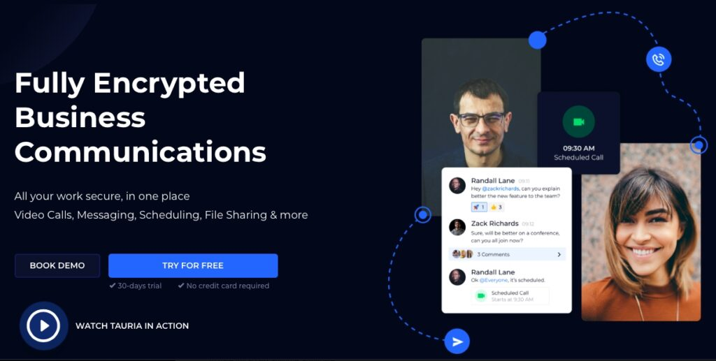 Tauria, encrypted video conferencing, end-to-end encryption, business communications software, secure business file sharing, Zoom, Slack, Google Calendar, VPN, Dropbox, HIPAA compliant video conferencing