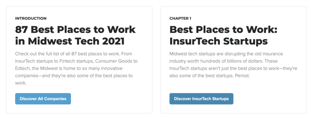 Best startups Midwest, best places to work 2021