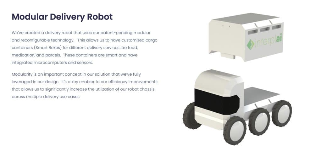 Interplai delivery robot, last mile logistics startups, autonomous delivery robot startups, Ann Arbor startups, Silicon Valley incubator startups, Midwest mobility startups